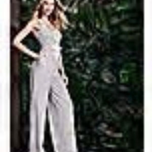 NY&Co NWT White & Black Striped Lace-Up Jumpsuit